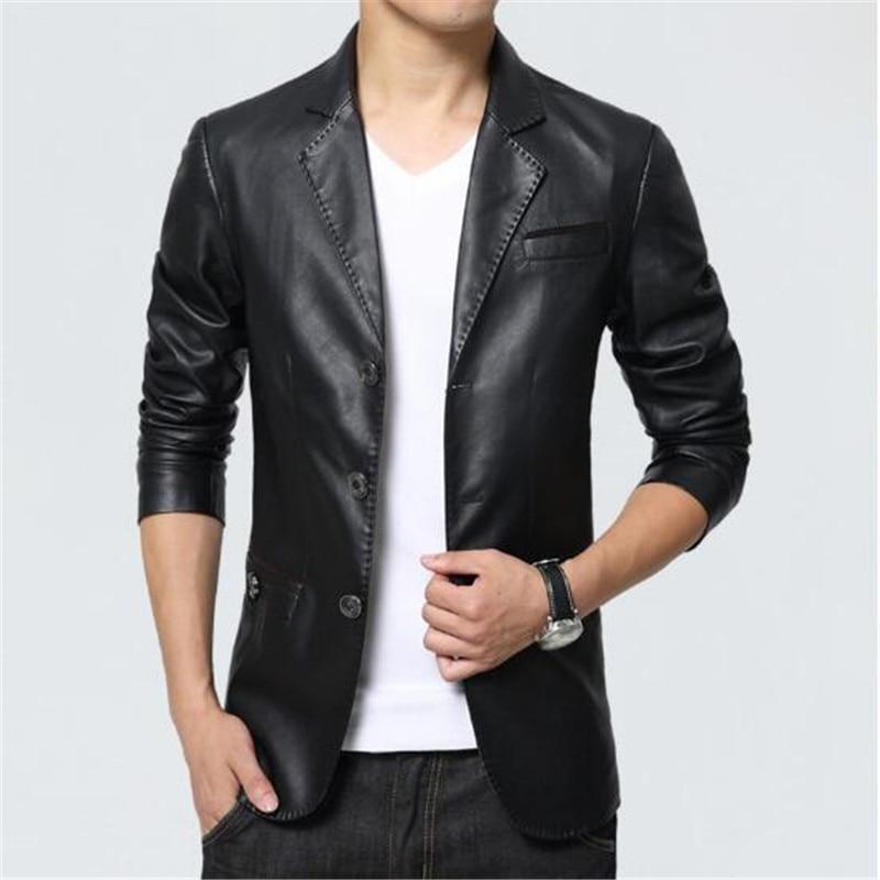 Hommes en cuir veste 2018 nouveau Blazer Style Slim Fit PU en cuir veste hommes grande taille solide homme manteau hommes vêtements