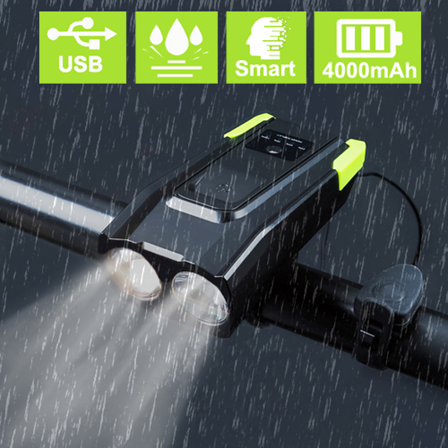 4000mAh Smart Induction Bicycle Front Light USB Rechargeable 2T6 LED Head Light With Horn 800 Lumen Bike Lamp Cycle FlashLight