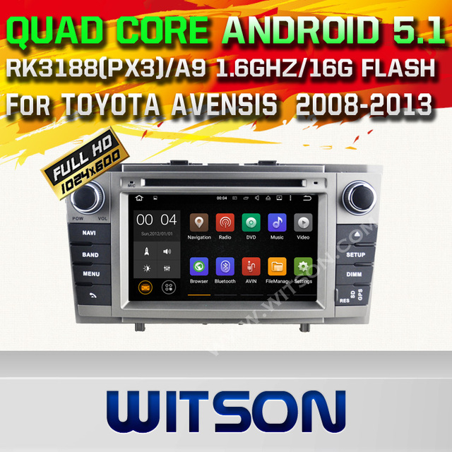 WITSON Android 5.1 CAR DVD GPS Capctive Экран для TOYOTA AVENSIS CAR AUDIO CAR DVD-ПЛЕЕР Bluetooth РАДИО android автомобиля dvd