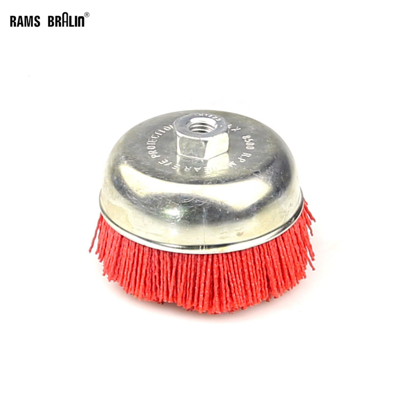 1 pièce 115 * M14 Tasse Brosse Roue Pile Polymère-abrasif P80 pour Journal Broyage Grossier 4.5 Angle grinder Outil