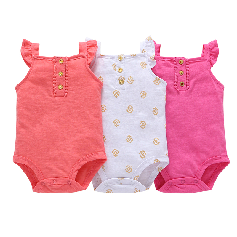 Sleeveless Bodysuit For Baby Boy Girl Summer Clothes 3pcs/set 2019 Newborn Body Suit Cotton Fashion Bodysuits Clothing 6-24M