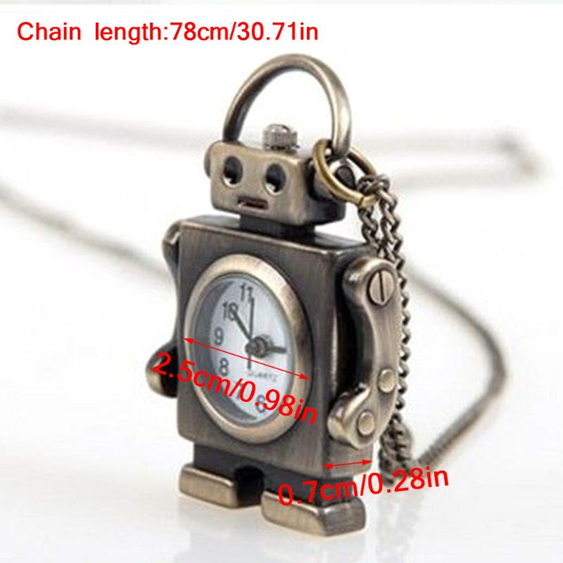 Watches Sporting Vintage Fashion Pocket Watch Bronze Robot Creative Cute Decoration Pendant Chain Necklace Charm Antique Classic Watches
