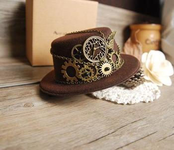 Retro Steampunk Gear Vintage Mini Top Hat Handmade Brown Hats Party Cos-Play Accessories Vintage