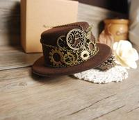 Retro Steampunk Gear Vintage Mini Top Hat Handmade Brown Hats Party Cos Play Accessories Vintage