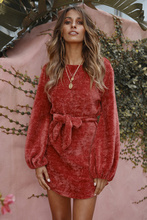 NiceMix 2019 women christmas red lace-up bow waist knitted sweater mini empire dresses female long sleeve round neck warm dress red round neck mini dress