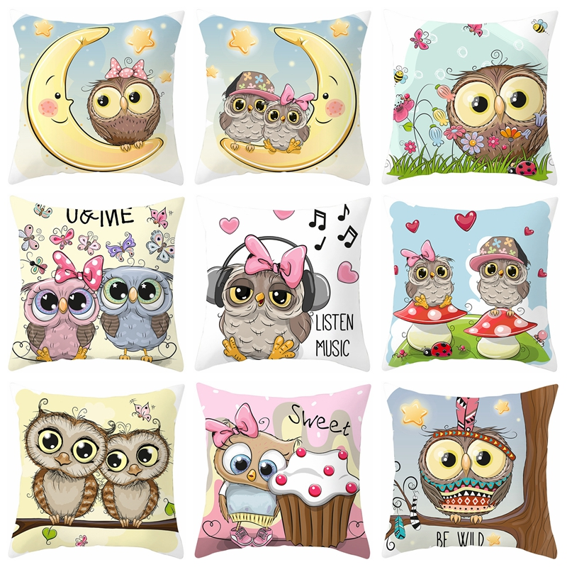 New 45*45cm Cartoon Cushion Cover Owl Family Print Pillow Case Bird Polyester  Throw Pillow Cover Decoration For Home Office
