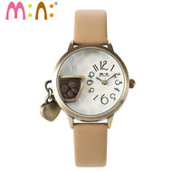 New Novel Designer Coffee Cup Casual Watches Quartz Women Sweet Heart Pendant Dangle Leather Wrist watch Students Relojes S039