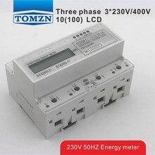 10(100)A 3*230V/400V 50HZ three phase Din rail KWH Watt hour din-rail energy meter LCD
