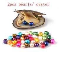 30pcs Oysters With Twin Pearls Freshwater Cultured Pearl Oyster With 5mm 7mm Oval 15 Color Pearl Birthday Gifts Vacuum Packe