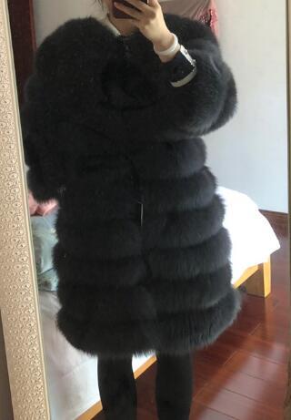 Femmes Vestes Réel Veste ardoisé Reroyfu noir Naturel De Beige Renard Survêtement Véritable Fourrure Manteau Pardessus Vêtement 6xxXIY