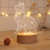 Cute little cat 3D table lamp powered by DC5V 3D Visual Illusion Night Light LED animal cartoon Light creative gift