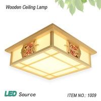 일본식 다다미 나무 천장 및 Pinus Sylvestris의 LED 램프 자연 색상 광장 그리드 종이 천장 조명기구 1009