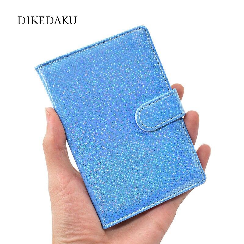 DIKEDAKU Luxury Shiny Women Passport Cover Fashion Solid Hasp Passport Holder Girl Elegant Soft Pu Leather Cover on The Passport cover girl spf22
