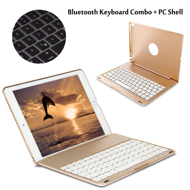 7 Colors Backlit Light Wireless Bluetooth Keyboard Case Cover For iPad Pro 10.5 New 2017 + Stylus + Film aluminum keyboard cover case with 7 colors backlight backlit wireless bluetooth keyboard