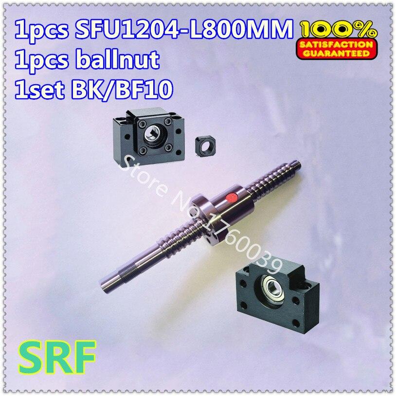 ②12mm diámetro tornillo de bola laminado SFU1204-L800MM + 1 unids ...