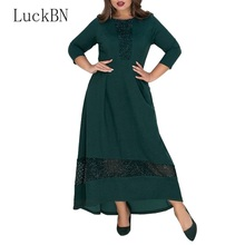 купить Sexy Party Women's Dress Elegant 3/4 Sleeve o Neck Maxi Long Dress Solid Plus Size 6XL Tunic Club Autumn Dress Vestidos 2019 в интернет-магазине