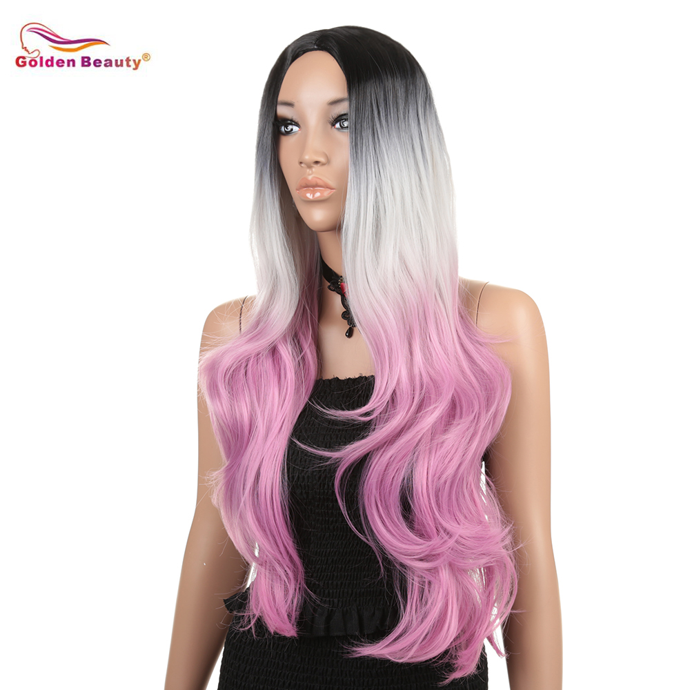 Long Wavy Hair Black to Pink Wig for Women Cosplay Costume Synthetic Hairpiece Rooted No Bang Middle Part 30inch Golden Beauty