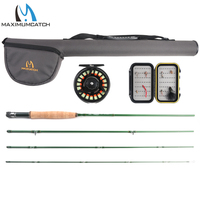 Maximumcatch 5/6WT Fly Fishing Combo 9FT Fast Action Fly Rod Pre spooled Fly Reel Fly Line With Cordura Triangle Tube