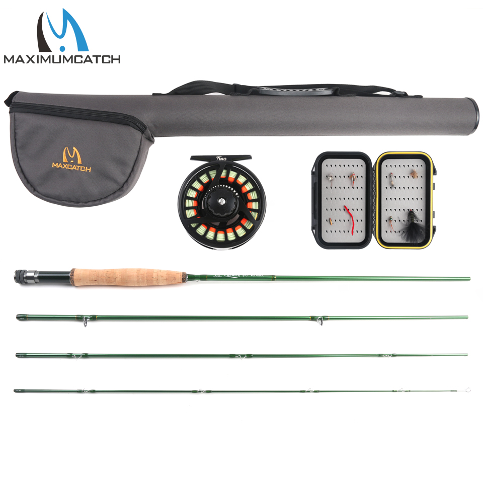 Maximumcatch 5/6WT Fly Fishing Combo 9FT Fast Action Fly Rod Pre-spooled Fly Reel Fly Line With Cordura Triangle Tube