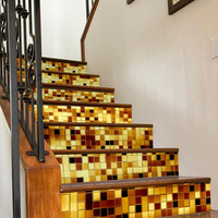 Imitation 3d Stair Sticker Fashion Gold Silver Mosaic Stair Self Adhesive Wallpaper PVC Waterproof Stickers Home Decoration DIY