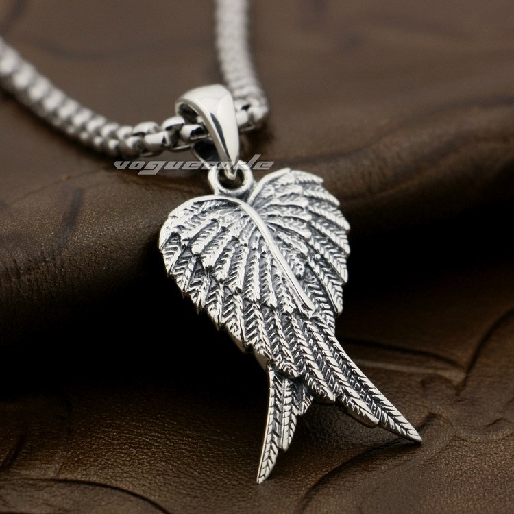 925 Sterling Silver Lovely Angel Wings--Two Wings Charm Pendant 8X021A(Necklace 24inch) silver wings silver wings 31mc0198 38 44