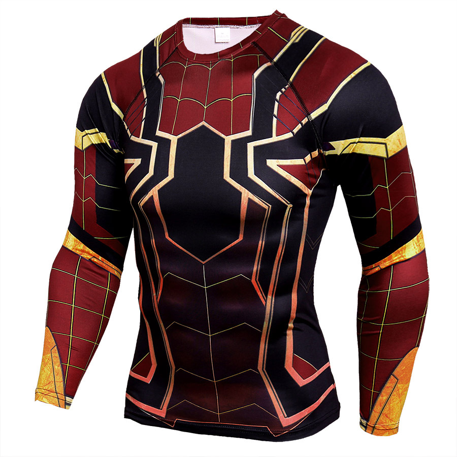 Marvel Compression Shirts Action Figures Spiderman Iron Man 3D Printed T Shirts Men Long S