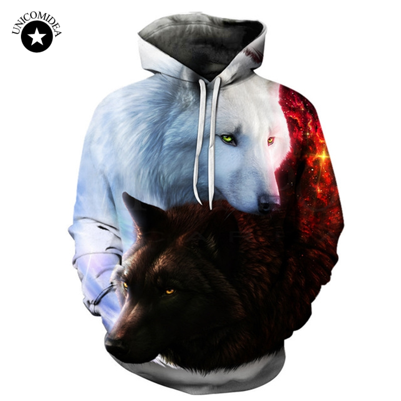 New Two Wolf Hoodie Men/Women 3D Print Hoodies Hat Tops Harajuku Hooded Pullover Casual Sweatshirts Hoody Plus Size 6XL Dropship