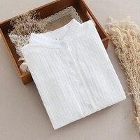 Japanese Pure Long Sleeve Shirt Female White Shirt Cotton Shirt