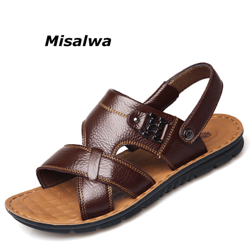 Misalwa 2018 Genuine Leather New Summer Sandals Shoes for Men Leisure Travel Durable Water Non-slip Black Brown Men Flip Flops