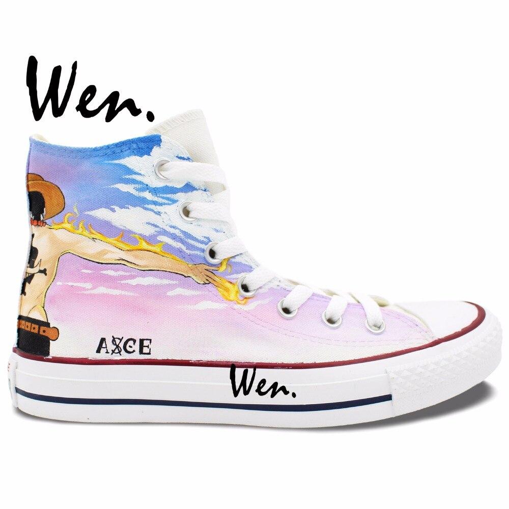 Prix pour Wen Custom Design Anime Peint À La Main Chaussures de One Piece Ace Hommes Femmes High Top Toile Sneakers De Noël Cadeaux