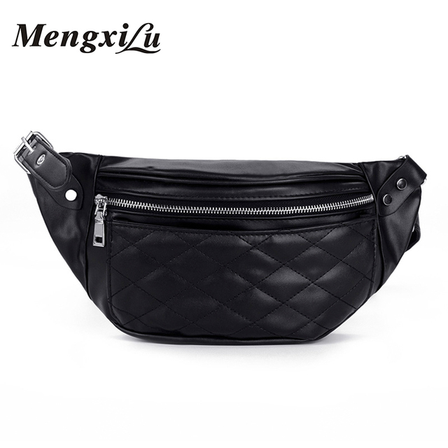 Mengxilu Waist Bag For Women Fanny Pack Female Chest Handbag New Fashion Waist Packs Brand For Ladies Shoulder Belt Bags Chain