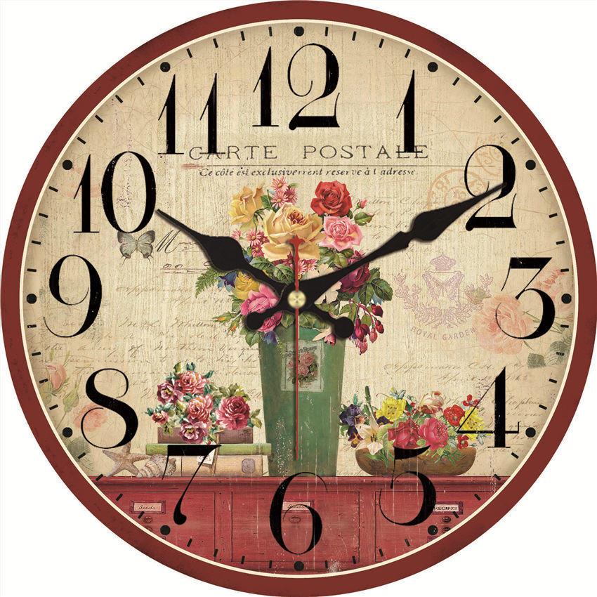 Shabby Chic Rose Wall Clocks Vintage Wall Clock Wall Watches Home Decor Flower Wall Clock Non Ticking Wall Clocks Aliexpress