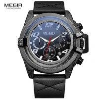 Мужские кварцевые часы Megir  часы с 24-часовым дисплеем и кожаным ремешком  водонепроницаемые  с датчиком 2052g