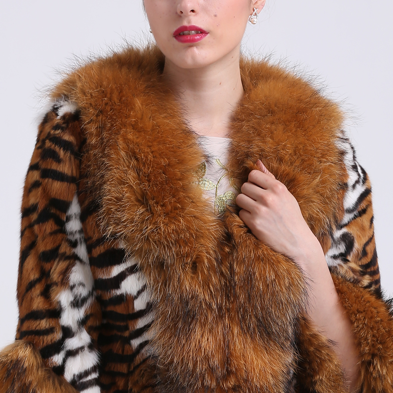 7c153e9b28fc4 BF FUR Real Big Raccoon Collar Fur Coats Genuine Fur Jackets Women's Real  Furs Outerwear Tiger Stripes Leopard Cape BF C0040-in Faux Fur from Women's  ...