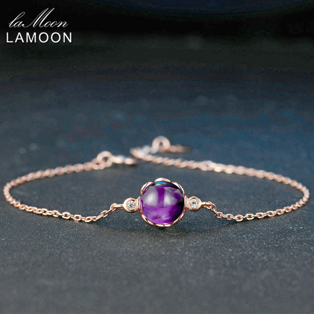 LAMOON 8mm 2.1ct 100% Natural Roundness Purple Amethyst 925 Sterling Silver Jewelry Charm Bracelet LMHI035