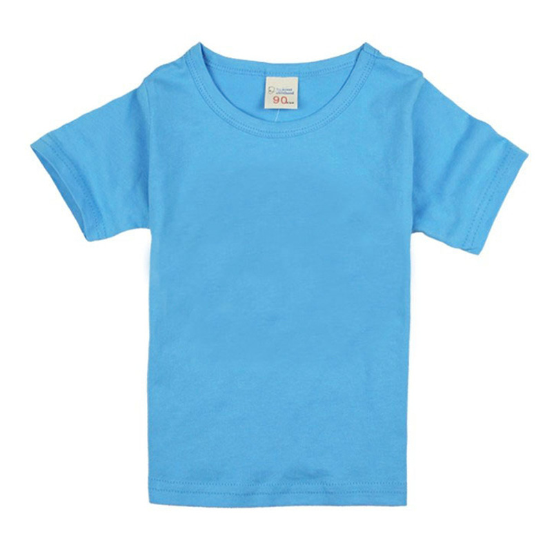 T-Shirts Short-Sleeve Girls Boys Kids Cotton Summer 16 18 Solid for Casual