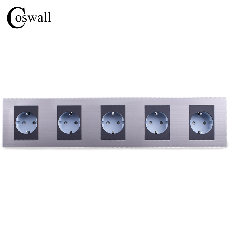 COSWALL 16A EU Standard Quintuple Outlet Luxury Wall 5 Way Power Socket Stainless Steel Panel Electrical Plug AC 110~250V coswall high quality wall power 5 way socket plug grounded 16a eu standard electrical quintuple outlet 430 mm 86 mm