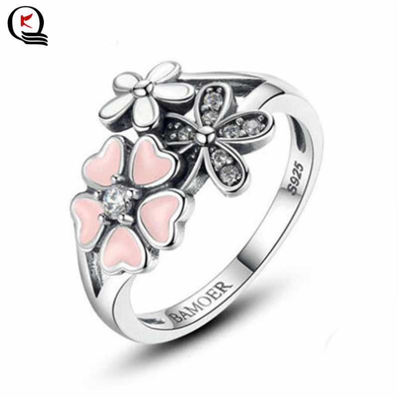 Romantic Heart Shaped Flower Petals White Crystal Rhinestone Silver Ring Female Christmas Party Gifts Jewelry Size 6-10