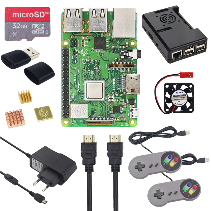 New Raspberry Pi 3 Model B Plus Starter Kit 16G 32G SD Card Gamepad Case Fan