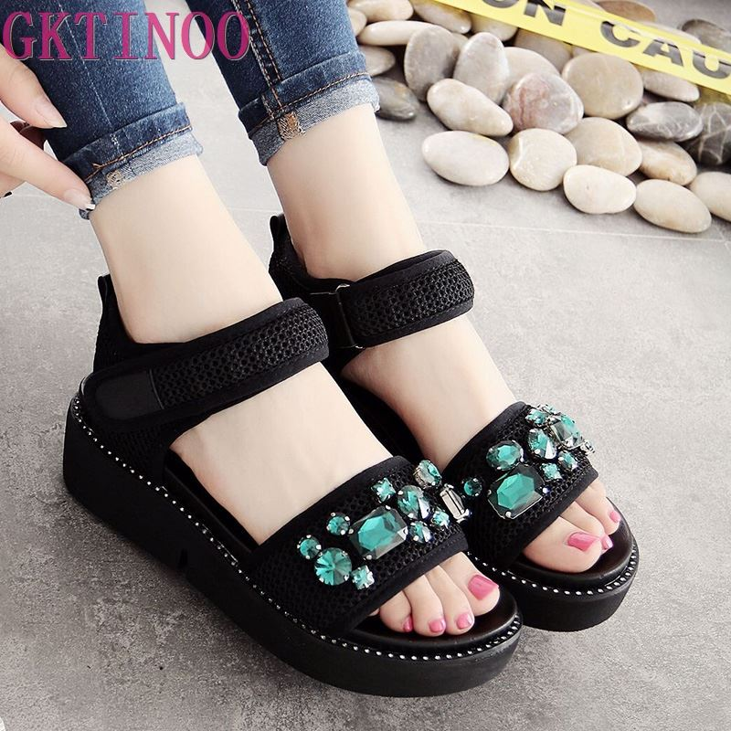 GKTINOO 2019 Summer Gladiator Sandals Women Rhinestone Wedges Fashion Women Shoes Casual Comfortable Platform Female SandalGKTINOO 2019 Summer Gladiator Sandals Women Rhinestone Wedges Fashion Women Shoes Casual Comfortable Platform Female Sandal