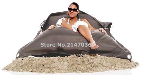 Silla de bolsa de frijol para exteriores de color gris, sala de estar externa de bolsas de arena, resistente al agua y a la suciedad