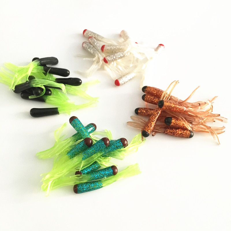 Free shipping 40pcs 4.5cm 0.78g fishing soft artificial squid tube worm bait lure fishing tackle skirt squid plastic grub pesca