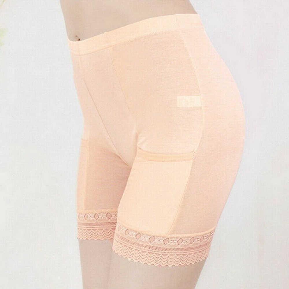 Летние женские карманные кружевные шорты безопасности штаны женские без завивки база страховые штаны женские трусики для девочек плюс размер Однотонные эластичные