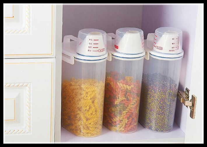 buy elimelim kitchen storage organizer 2kgs grain storage container rice box cereal bean container sealed box with measuring cup from - Kitchen Storage Containers