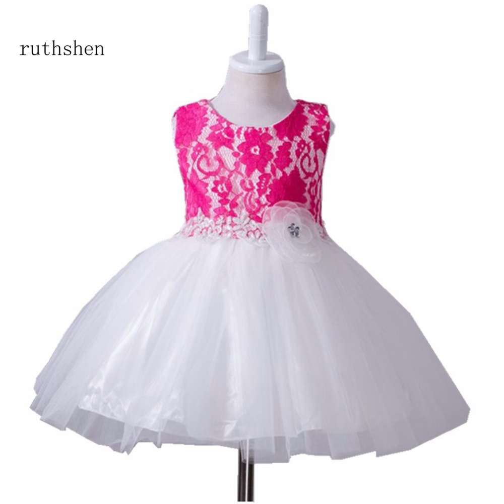 ruthshen Elegant   Flower     Girl     Dress   For 0-24 months Kids For Evening Prom Party Wedding Christening Gown 2018 Birthday Party