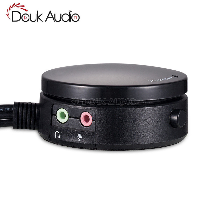 Mini 3.5mm Computer Volume Control Headset/Speaker Audio Switch With Microphone