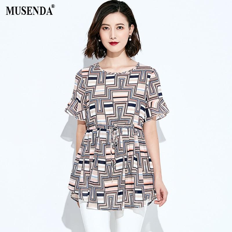 MUSENDA Plus Size Women Chiffon Print Drawstring Waist Blouse 2018 Summer Female Ladies Casual Fashion Street Beach Shirt Tops