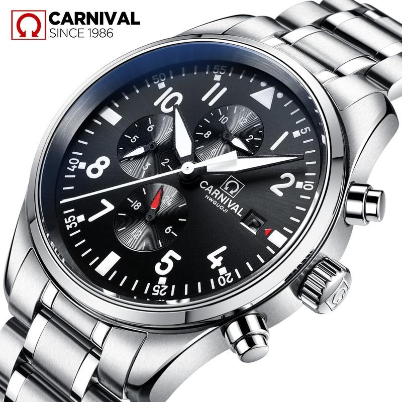 Carnival Multifunction Automatic Mechanical Wristwatches Mens All Black Steel Waterproof Luminous Clock Men Watches relojes saat inov 8 сумка all terrain kitbag black