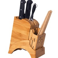 Creative Chinese Style Knife Holder Bamboo Wood Knife Block Stand Tools Kitchen Rack Cooking Supplies Accessories