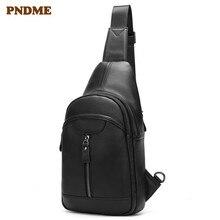 PNDME casual simple genuine leather mens chest bag first layer cowhide black crossbody handmade waterproof shoulder bags